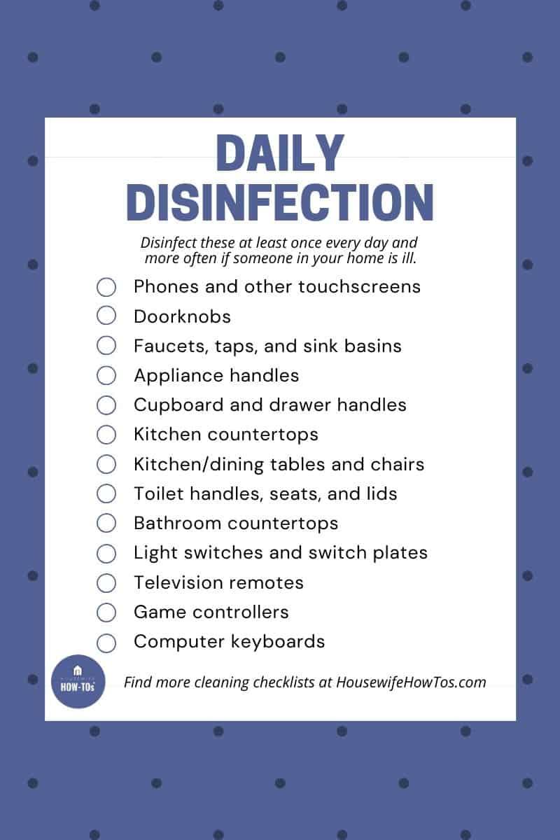 Lista de verificación de lo que debe desinfectar diariamente para mantener su hogar saludable