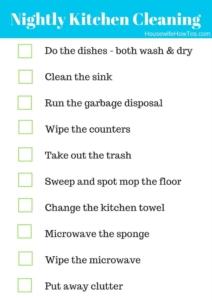 Lista de verificación de rutina de limpieza nocturna de la cocina