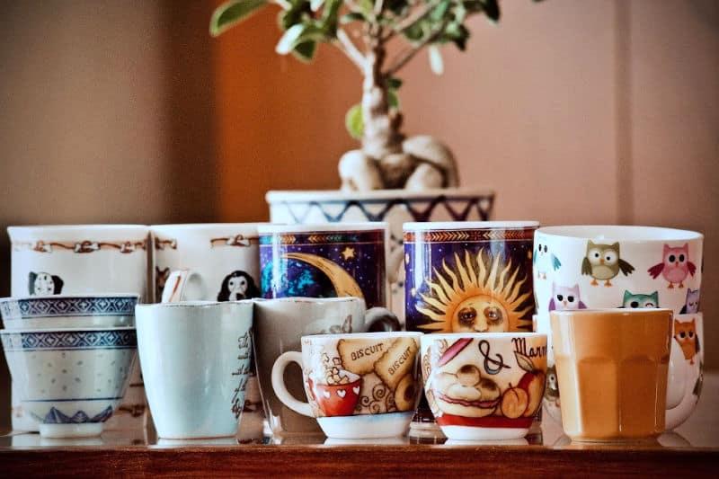 Tazas de café frente a una planta de interior