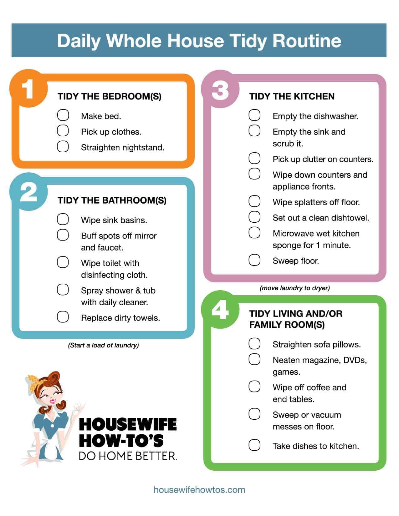 Lista de verificación imprimible de rutina de limpieza diaria
