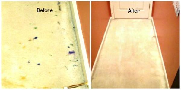 Fotos de antes y después que muestran la pintura seca quitada de la alfombra