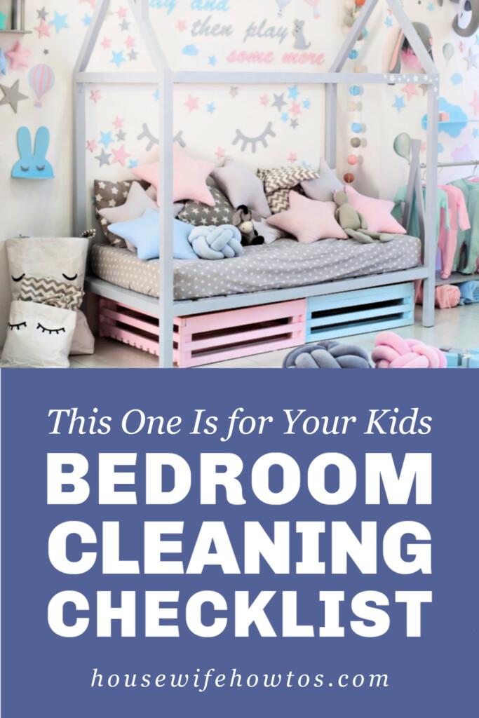 Lista de verificación de limpieza de dormitorios para niños