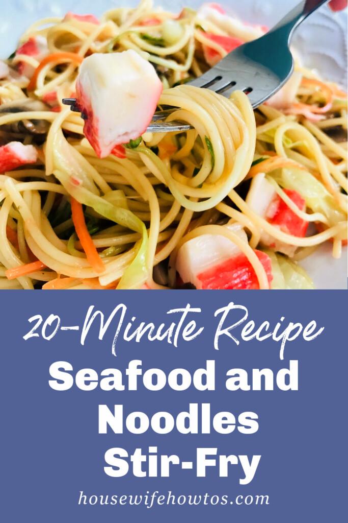 Receta de salteado de fideos con mariscos en 20 minutos