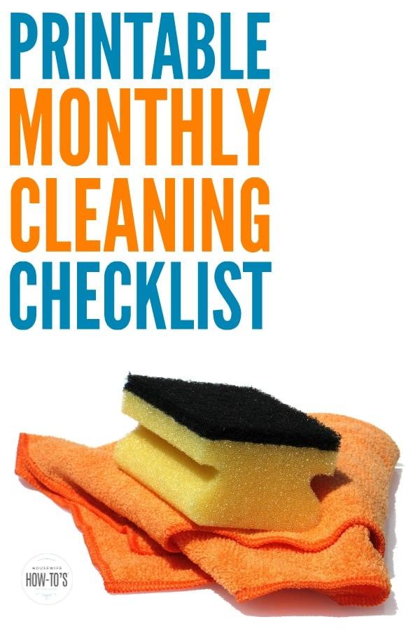 Lista de verificación de limpieza mensual: gran recordatorio para la limpieza semanal, así como para las pequeñas tareas del hogar que son tan fáciles de olvidar.