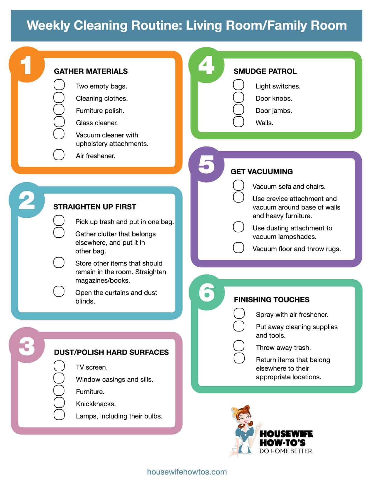 Lista de verificación de limpieza semanal imprimible de la sala de estar