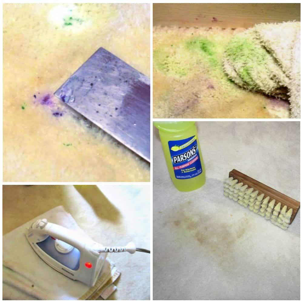 Usar espátula, trapos blancos y plancha para quitar la pintura seca y otras manchas de la alfombra