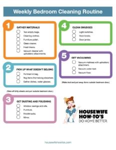 Lista de verificación de limpieza semanal del dormitorio imprimible
