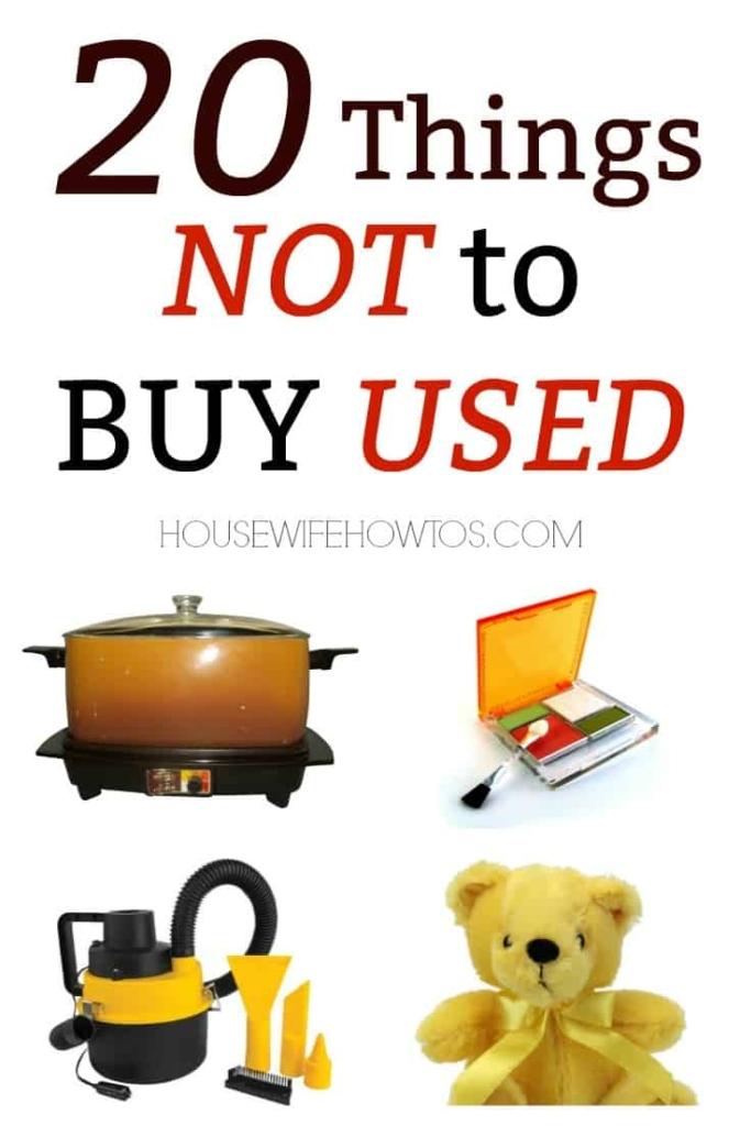 20 cosas que no debe comprar usadas: no permita que esa gran oferta ponga en peligro a su familia. #savingmoney #compras #frugal #secondhand #garagesales