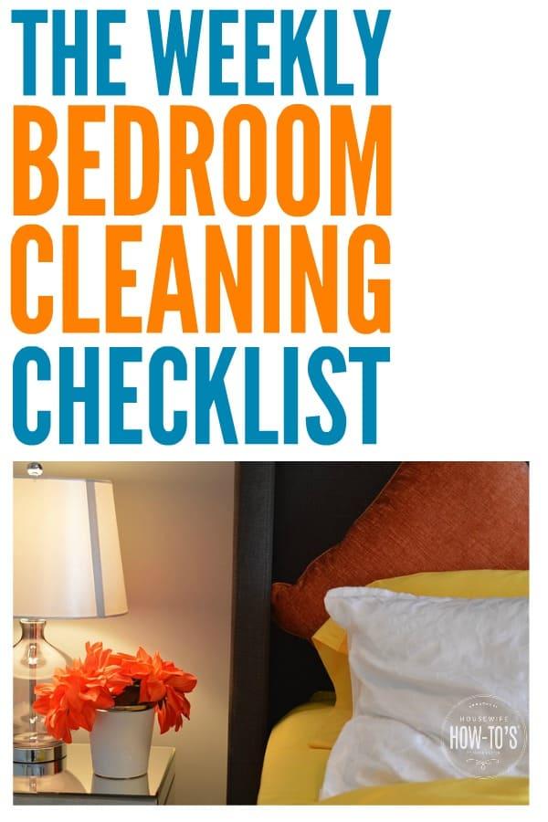La lista de verificación semanal del dormitorio limpia todas las superficies, ¡incluso las que generalmente olvido! #limpieza del dormitorio #rutina de limpieza #lista de verificación de limpieza #consejos de limpieza # tareas domésticas #hacer del hogar # tareas domésticas